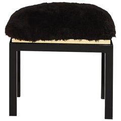 1980's Black Brass Fur Stool