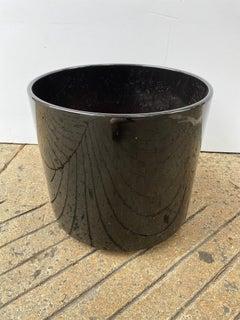 1980's Black Ceramic Planter