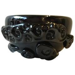 1980s Black Glass Murano Abstract Bowl