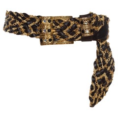 1980S Black & Gold Bedazzled, Interwoven Chain Leather Belt
