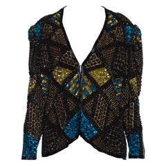 1980S Black & Gold Silk Beaded Jacket With Teal Sequin Highlights