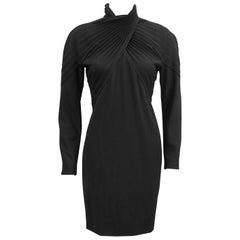 1980s Black Label Gianni Versace Black Wool Cocktail Dress