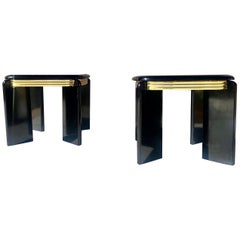 1980s Black Lacquer and Brass Side Tables