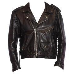 1980S Black Leather Classic Men's Brando Biker Jacket