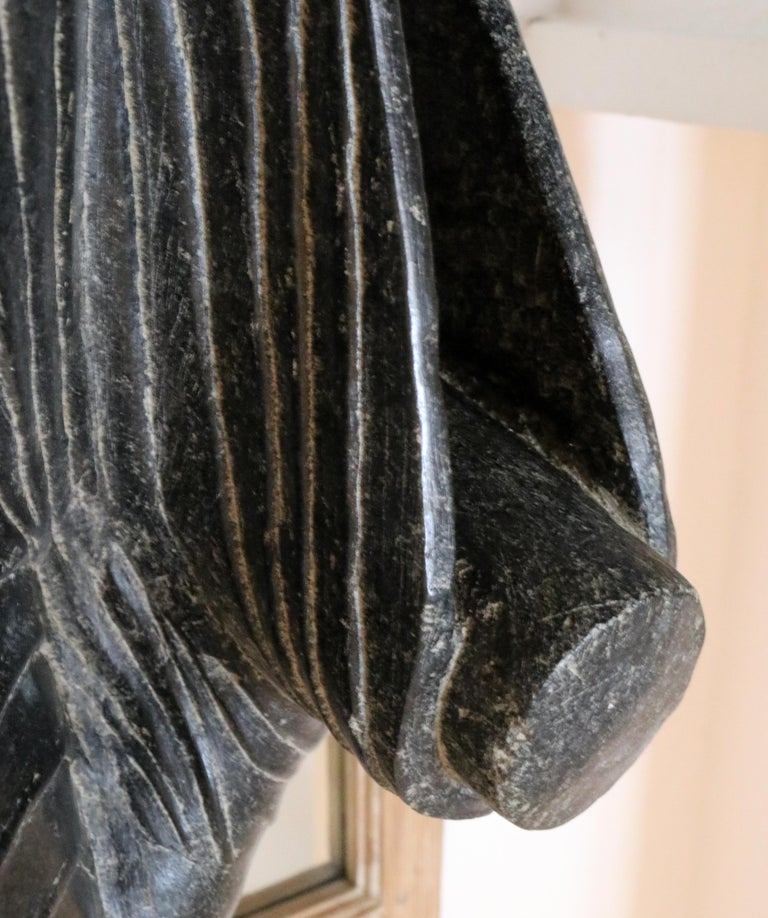 20th Century 1980s Black Marble Hand Carved Standing Buddha Sculpture with Relief on the Base For Sale