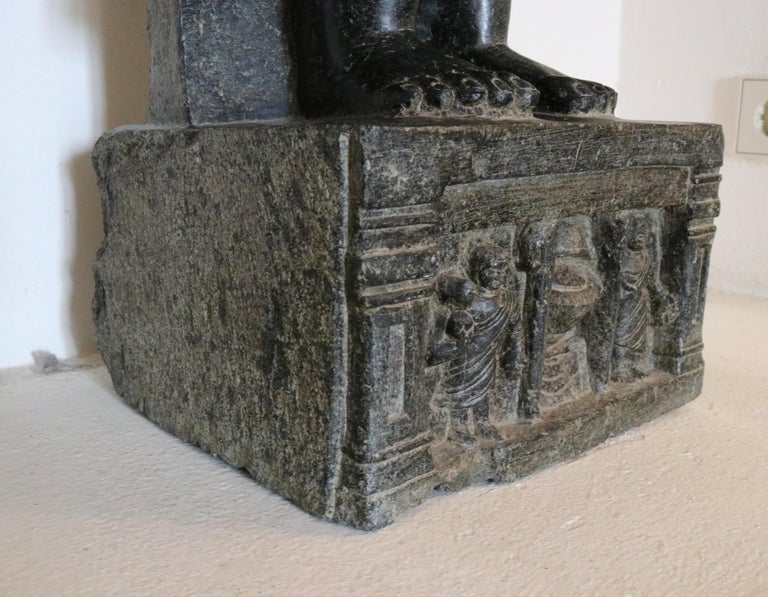 1980s Black Marble Hand Carved Standing Buddha Sculpture with Relief on the Base For Sale 1