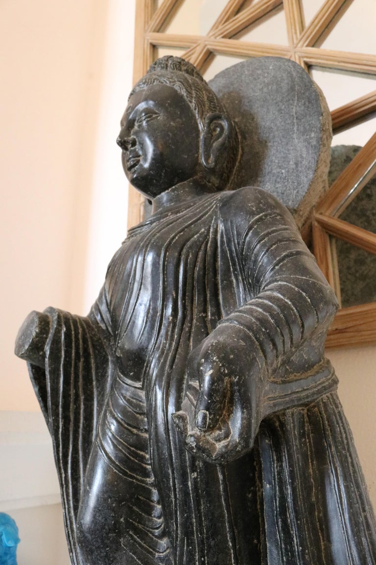 1980s Black Marble Hand Carved Standing Buddha Sculpture with Relief on the Base For Sale 2