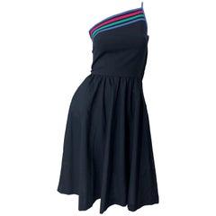 1980s Black One Shoulder Cotton Fit n ' Flare Vintage 80s Striped Dress