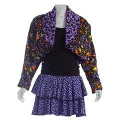 1980s Black & Purple Silk & Stretch Body-Con Cocktail Dress With Epic Giant Shou