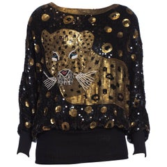 1980S Black Rayon Beaded Leopard Sequin Oversized Top