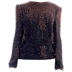 1980S Black Rayon Chiffon Hand Beaded Long Sleeve Blouse With Copper Pearls1980S