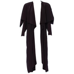 1980S Black Rayon Minimal Draped Japanese Style Duster