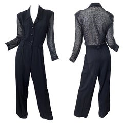 1980s Black Sexy Lace Cut - Out Back Long Sleeve Vintage 80s Jumpsuit
