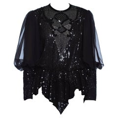 1980S Black Silk & Poly Chiffon Beaded Victorian Style Blouse