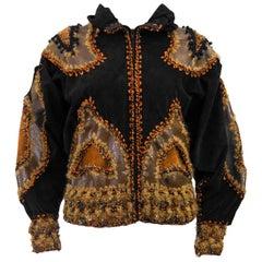 1980s Black Suede& Hand Knit Patchwork Bomber Jacket