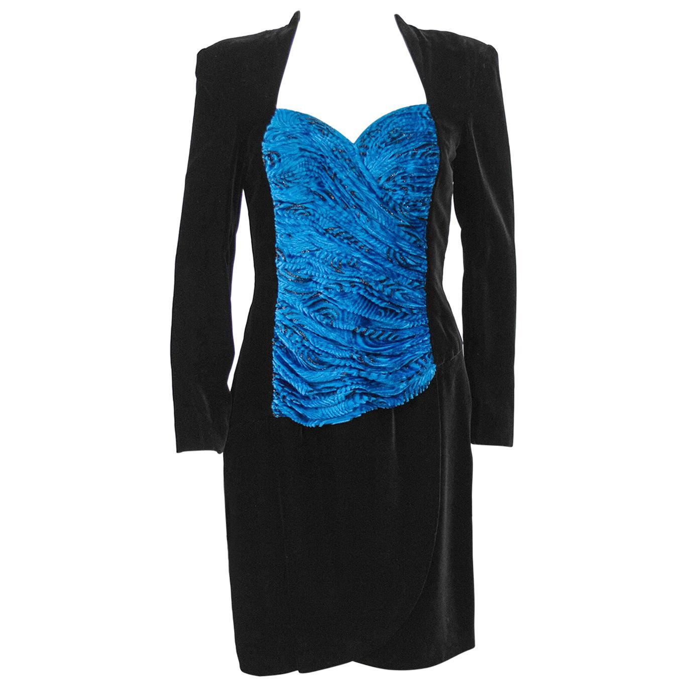 1980s Black Velvet Vicky Tiel Cocktail Dress with Royal Blue Bodice