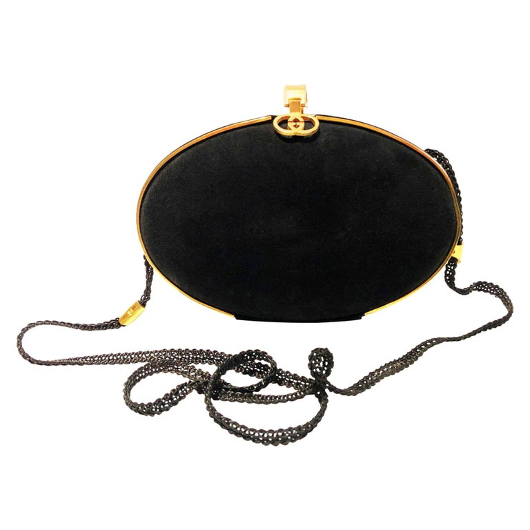 Gucci 1980s Black Vintage Gold oval shaped clutch bag For Sale