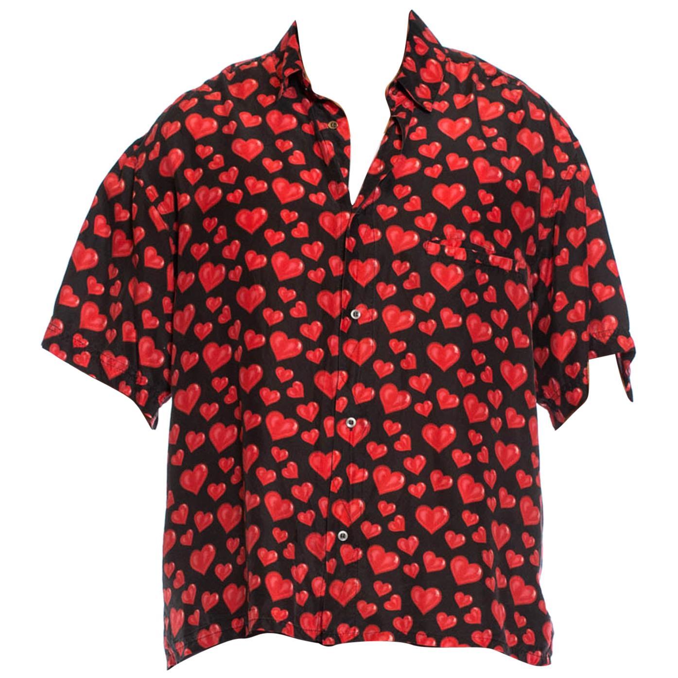 1980S Black Washed Silk Pink Loverboy Heart Printed Men's Shirt