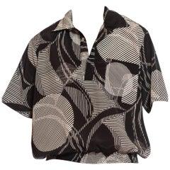 1980S Black & White Geometric Polyester Short Sleeve Pullover Shirt