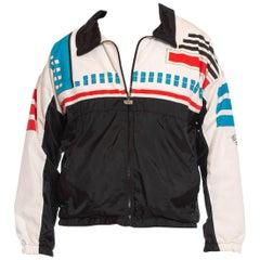 1980S Black & White Nylon Lined In Cotton Jersey Sports Windbreaker Jacket