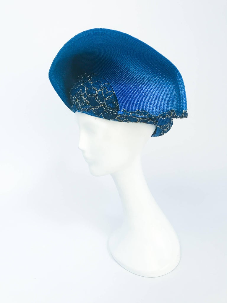 1980s Blue and Gold-tone Structured Hat In Good Condition For Sale In San Francisco, CA
