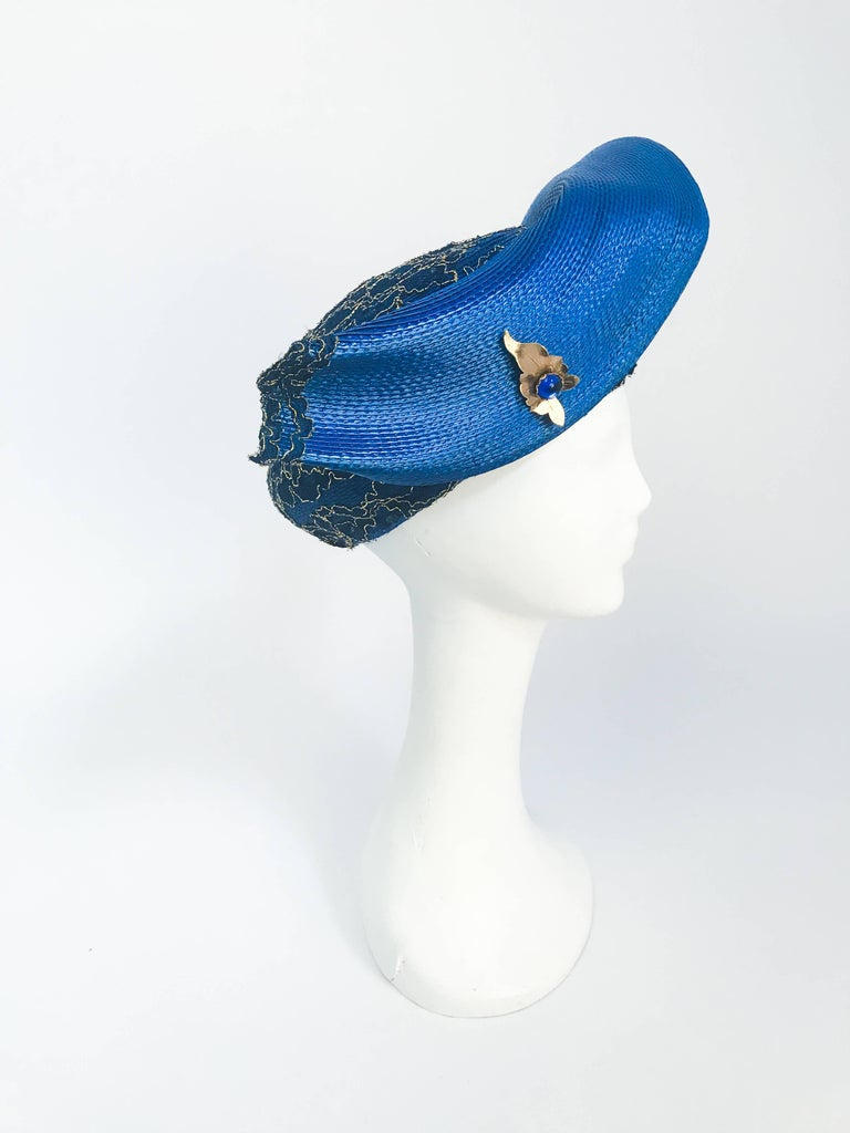 1980s Blue and Gold-tone Structured Hat For Sale 1
