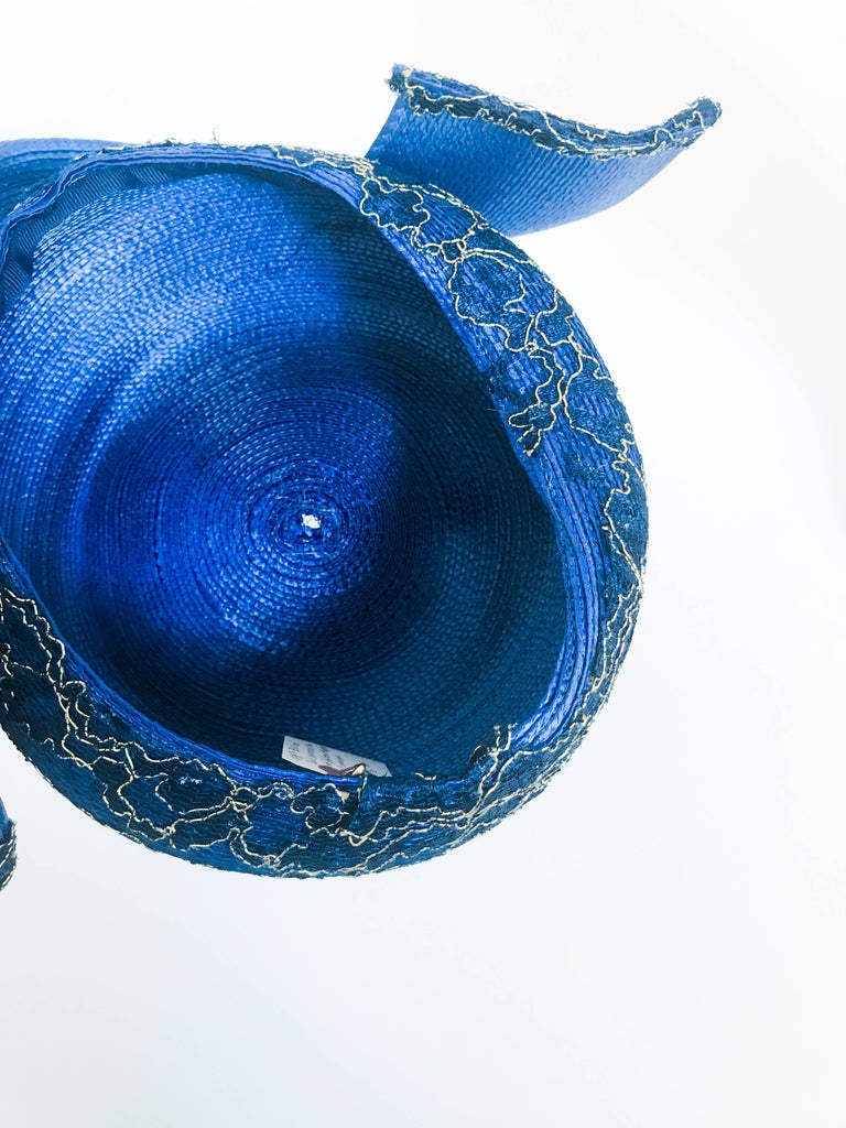 1980s Blue and Gold-tone Structured Hat For Sale 3