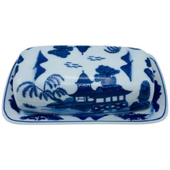 1980s Blue and White 'Blue Willow' Butter Dish