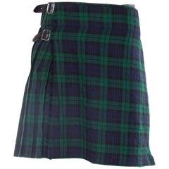 1980S Blue & Green Wool Men's Blackwatch Plaid Tartan Skirt / Kilt
