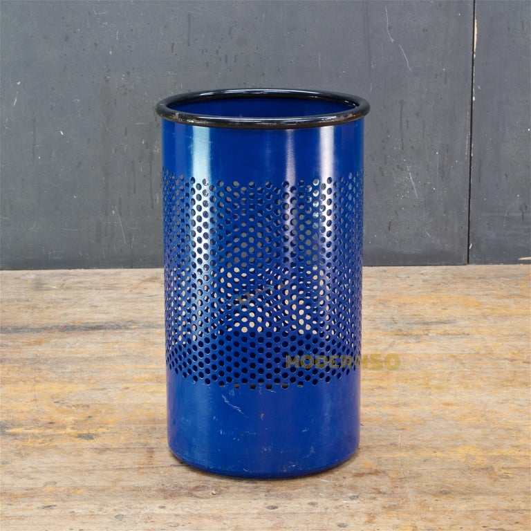 1980s Blue Perforated Metal Office Wastebasket Trash Can Italy Memphis Sottsass 2