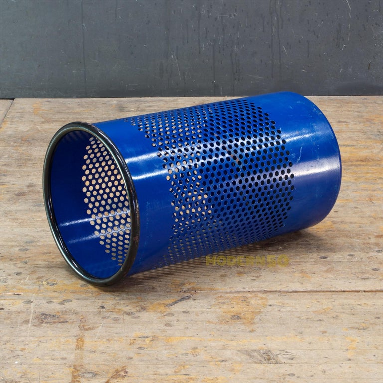 1980s Blue Perforated Metal Office Wastebasket Trash Can Italy Memphis Sottsass 3