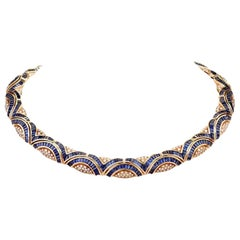 1980s Blue Sapphire Diamond 18 Karat Yellow Gold Choker Necklace