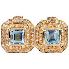 1980s Blue Topaz Diamond Square Stud Clip Earrings