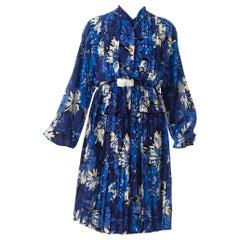1980S MILA SCHON Blue & White Haute Couture Silk Crepe De Chine Long Sleeve Ple