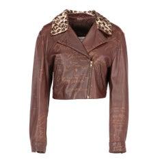 1980s Blumarine by Anna Molinari brown leather jacket