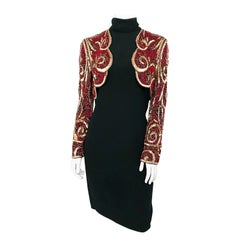 1980s Bob Mackie Black Dress with Faux Beaded Bolero