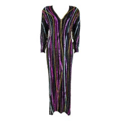 1980s Bob Mackie RARE Signature Multicolor Beaded Black Gown with Front Slit