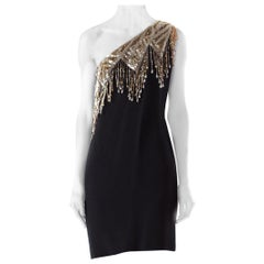 1980S BOB MACKIE Style Black Silk Crepe One Shoulder Cocktail Dress With Gold &