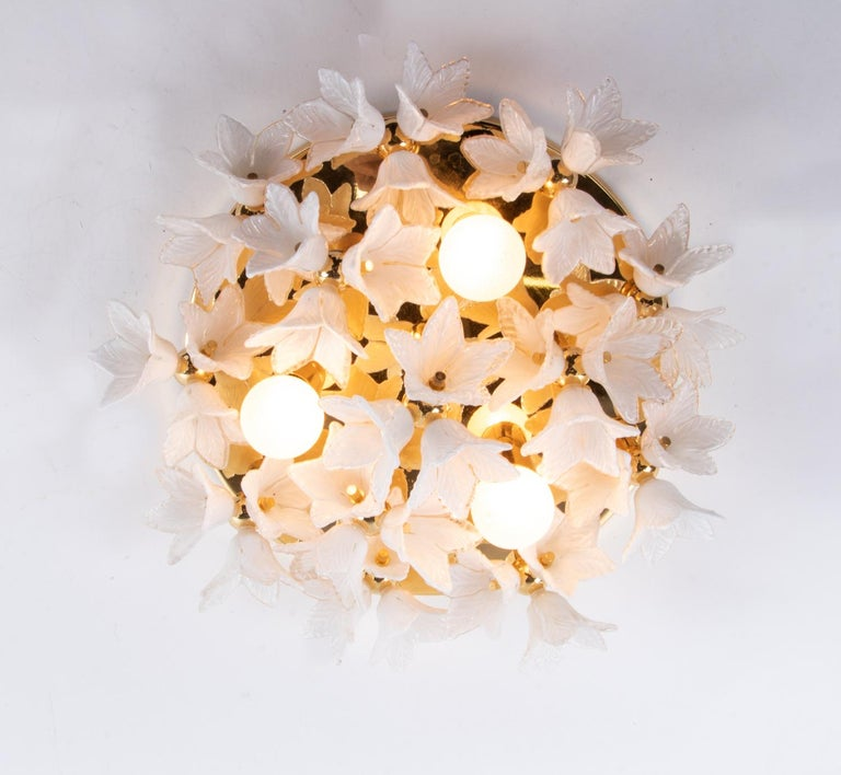 Hollywood Regency 1980s Bouquet Flush Mount White Murano Glass Flowers & Gold Plated For Sale