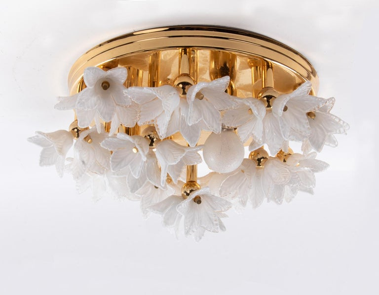 Hand-Crafted 1980s Bouquet Flush Mount White Murano Glass Flowers & Gold Plated For Sale