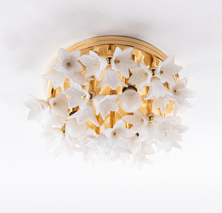 Late 20th Century 1980s Bouquet Flush Mount White Murano Glass Flowers & Gold Plated For Sale