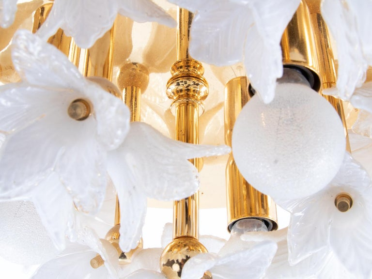 1980s Bouquet Flush Mount White Murano Glass Flowers & Gold Plated For Sale 1
