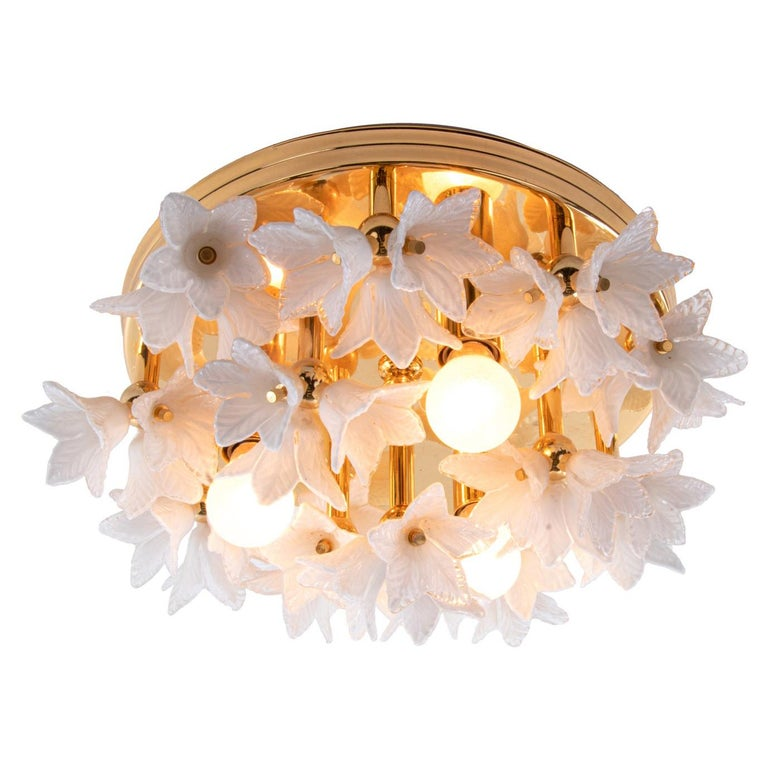 1980s Bouquet Flush Mount White Murano Glass Flowers & Gold Plated For Sale