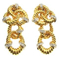 1980s Braided 18 Karat Gold Diamond Pendant Earrings