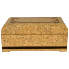 1980s Brass and Tessellated Stone Box