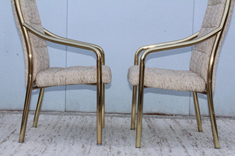 1980s Brass Dining Chairs Set of Six For Sale 5