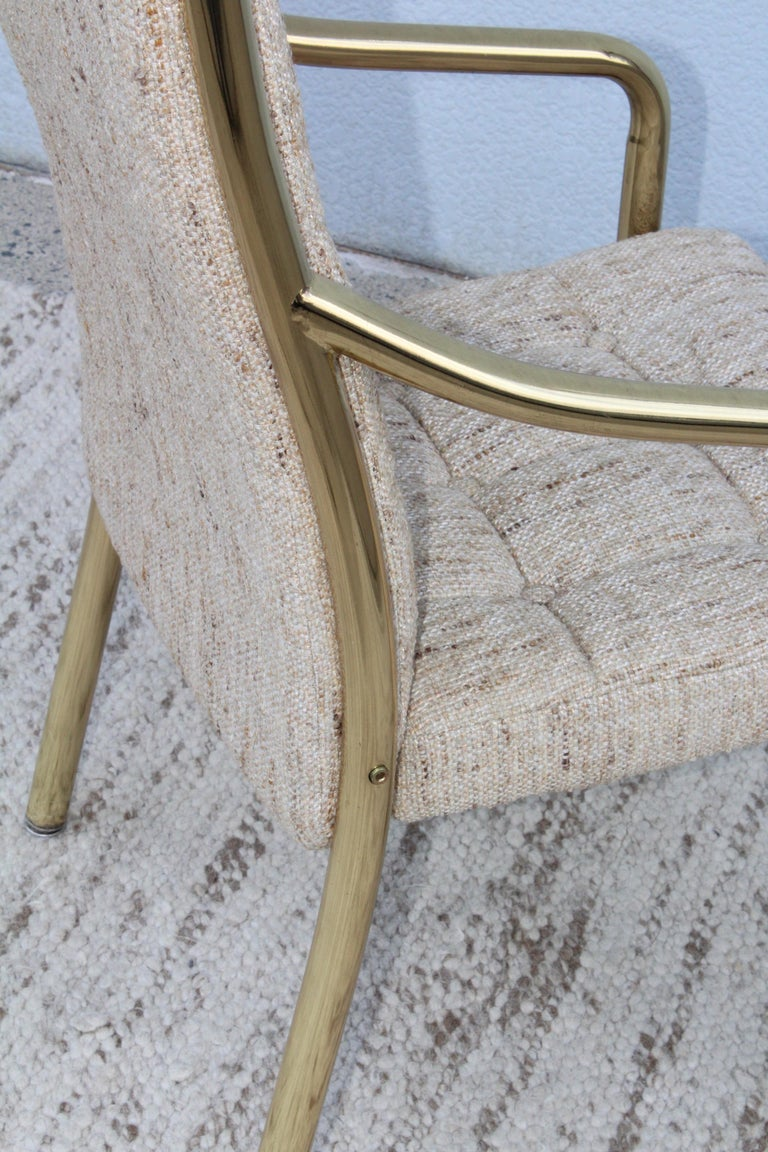 1980s Brass Dining Chairs Set of Six For Sale 7
