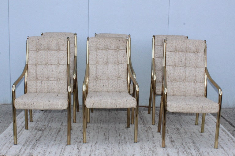 Mid-Century Modern 1980s Brass Dining Chairs Set of Six For Sale