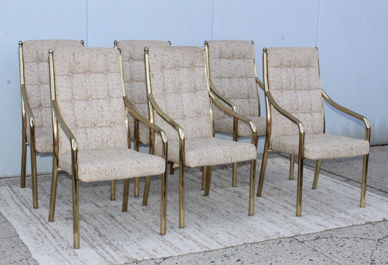 American 1980s Brass Dining Chairs Set of Six For Sale