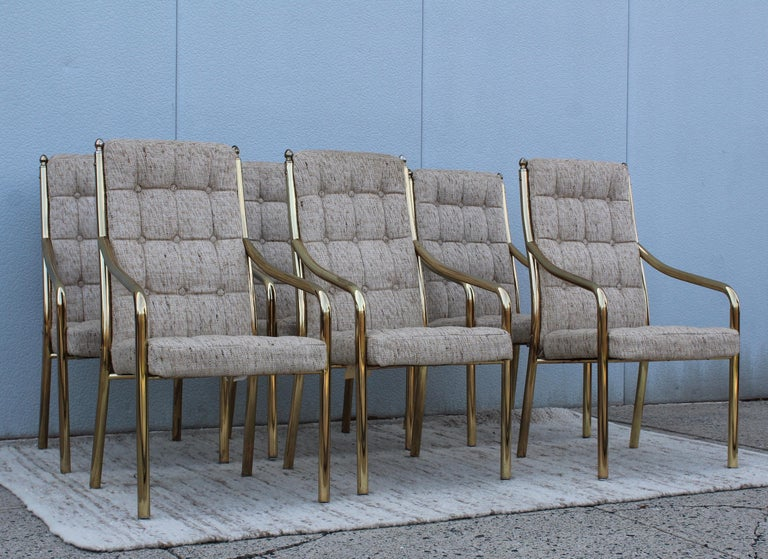 1980s Brass Dining Chairs Set of Six In Good Condition For Sale In New York City, NY